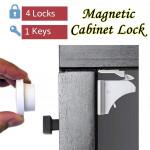 Замок для ящиков и дверей с магнитом (4 штуки + 1 ключ)