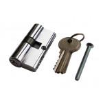 Цилиндр замка двухсторонний, ключ 40х40  Lider-Lock никель